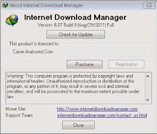 Picture showing Registered IDM 6.07 Build 9