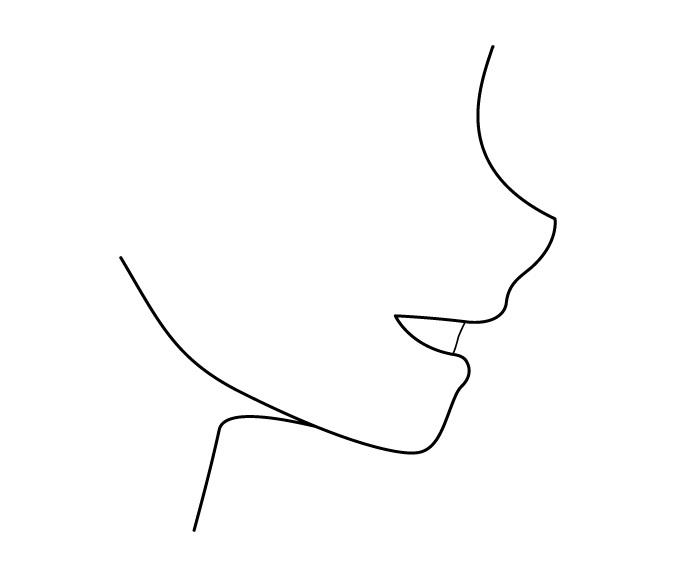 Tampak samping mulut anime yang tersenyum
