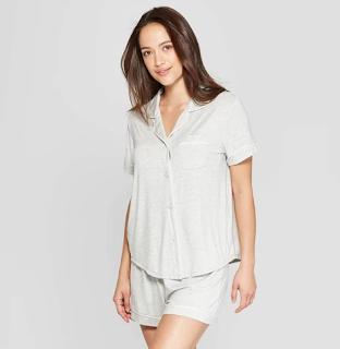 Women's Beautifully Soft Notch Collar Pajama Set - Stars Above Gray XS