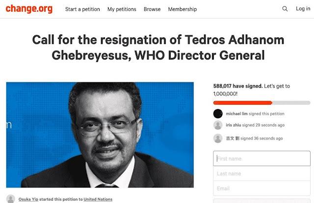 Hơn 500.000 người đã ký tên yêu cầu Tổng Giám đốc WHO từ chức