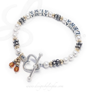 Alma and Lena Pearl Mother Bracelet with November Birthstone Charms and a Heart Toggle Clasp