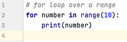 For loop in Python over a range