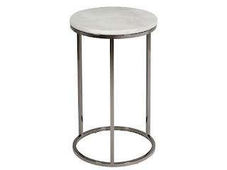 mesa redonda de acero y marmol