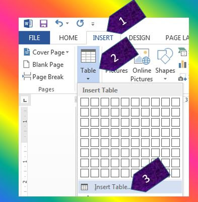 Insert table using insert table option in MS Word 2013