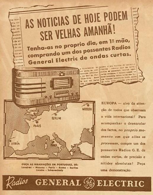 Propaganda antiga da General Eletric promovendo sua linha de rádios no final dos anos 30