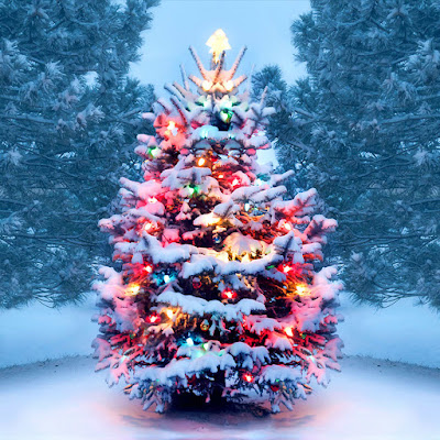 Fir tree decorated with tinsel and lights covered in snow stands in a forest