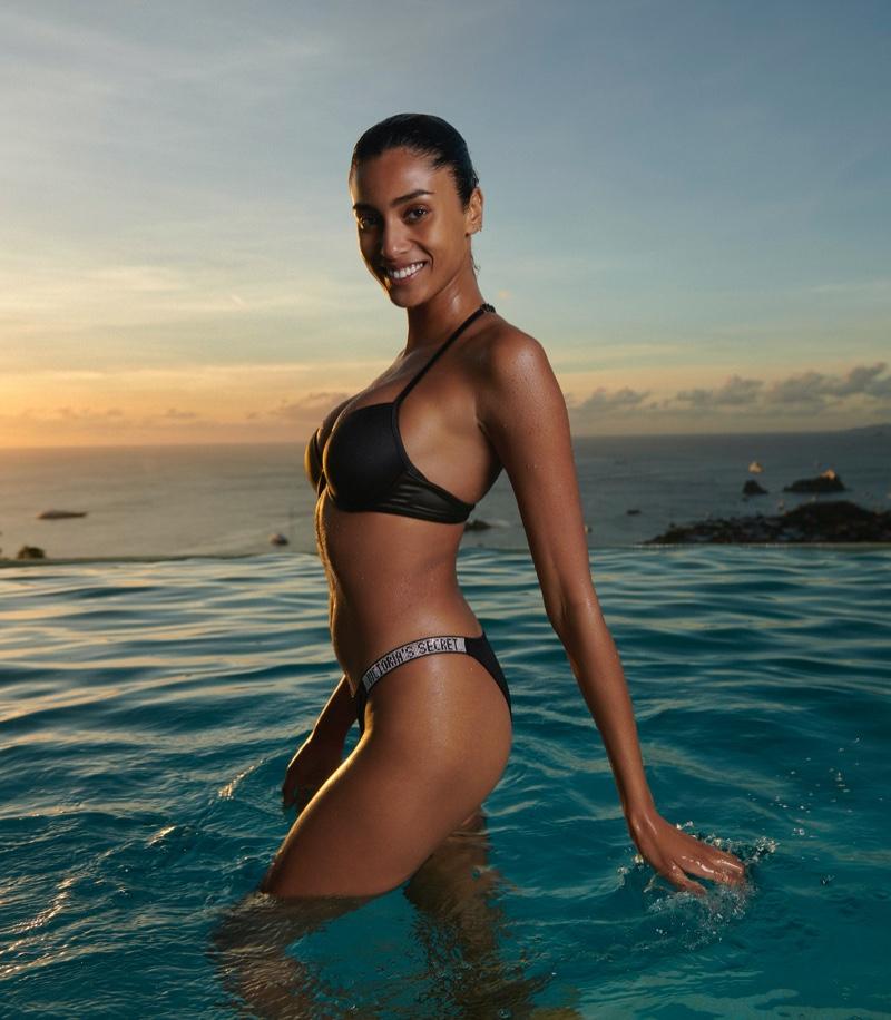 Imaan Hammam is all smiles in Victoria's Secret Swim spring 2021 campaign.