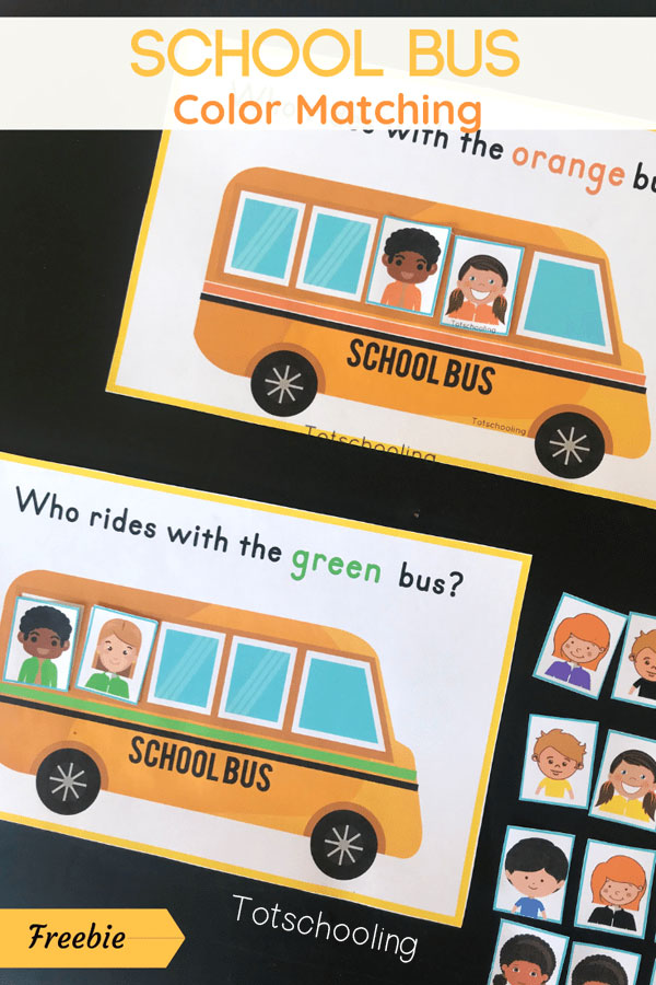 FREE printable Back to School themed color sorting and matching activity for toddlers, featuring kids getting on different colored school buses. Fun for the beginning of school or for a transportation theme. Toddlers and preschoolers will love this activity!