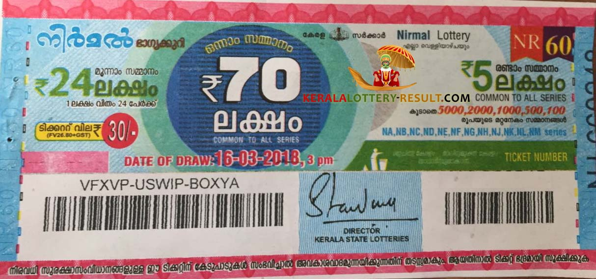 Nirmal Lottery Result today NR60 16-3-2018 - Kerala-lottery