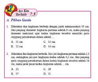 Pembahasan Ayo Kita Berlatih 7.5 Matematika Kelas 8 Hal 110-111 PG Bab 7 Lingkaran Semester 2