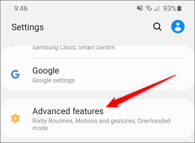 """Samsung Galaxy S20 حدد خيار """"الميزات المتقدمة"""""""