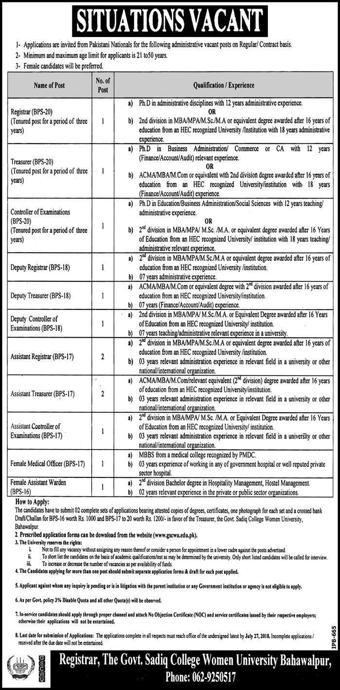 Govt Sadiq College Women University Latest Jobs July 2018 gscwu.edu.pk