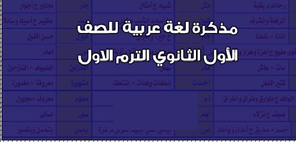 مذكرة مادة اللغة العربية للصف الأول الثانوى الترم الأول 2021