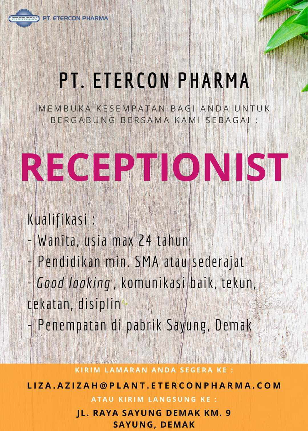 Lowongan Kerja Semarang di PT Etercon Pharma berdiri sejak tahun 2007, merupakan sebuah perusahaan yang bergerak di bidang farmasi dan berkedudukan di Sayung Demak – Semarang.