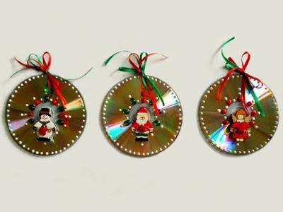 adornos navideos con cds y cascaras de huevo reciclados