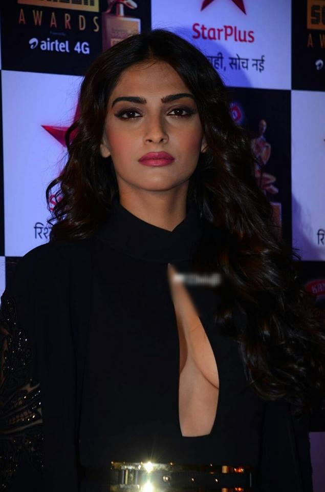 Indian Hot Actress Sonam Kapoor Long Hair Sizzling Photos In Black Dress