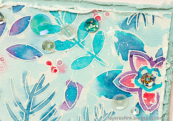 Layers of ink - Winter Floral Watercolor Tutorial by Anna-Karin Evaldsson. Add sequins.