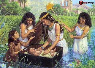 Baby Moses in Egypt at river Nile
