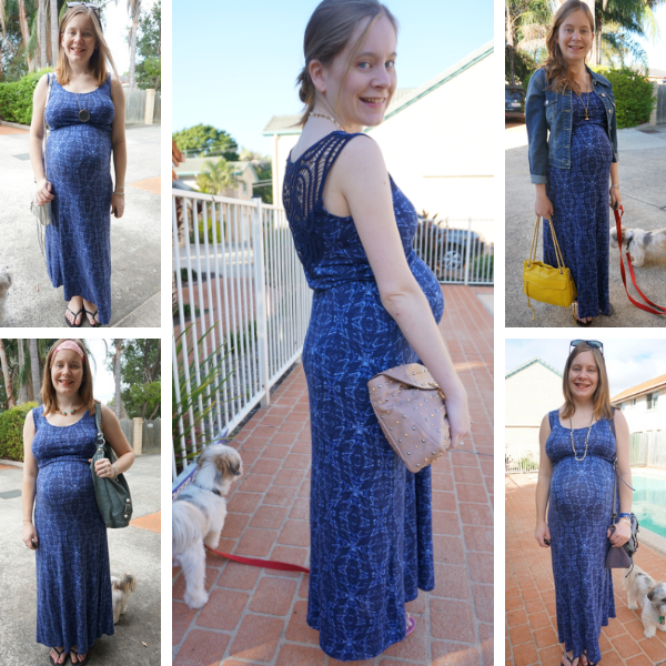 5 baby bump pregnancy outfit ideas with a non maternity jersey maxi dress in navy print awayfromtheblue blog