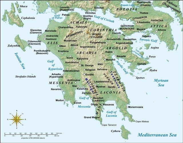 Map of Peloponnesus byzantium.filminspector.com