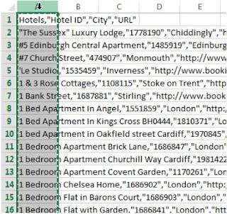 CSV a columnas. Valores separados por comas.