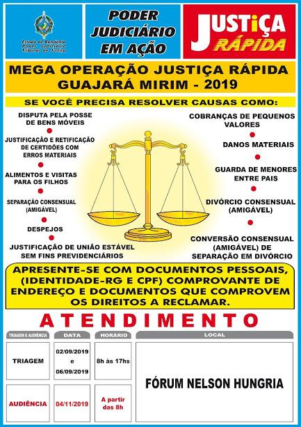 Justiça divulga datas de triagem da Megaoperação Justiça Rápida