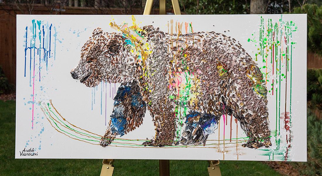 bear painting, polar bear dot , polar bear oil, bear mixed media, Grizzly Bear painting, bear 3d painting, bear dot painting, abstract bear art,bear textured, bear wall art, bear voznarski, bear pop art, acrylic bear,