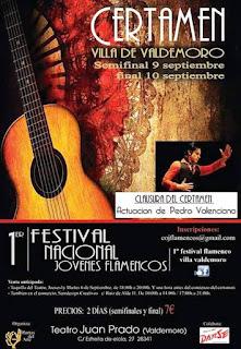 Cartel del Primer Festival Nacional Jóvenes Flamencos  Villa de Valdemoro (Madrid)