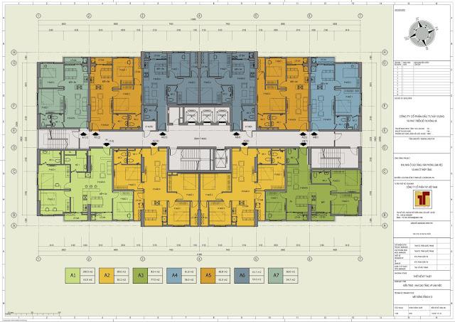 Mặt bằng thiết kế tầng 6 - 13