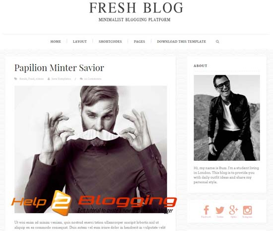 Fresh Blog Flat White Blogger Template 2016 Free Download