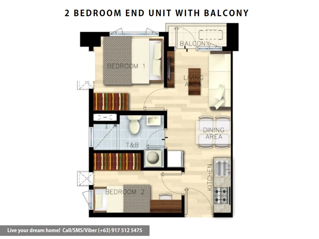 Floor Plan of SMDC Bloom Residences - 2 Bedroom End Unit With Balcony | Condominium for Sale Sucat Paranaque