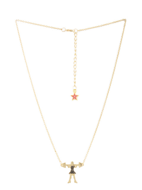 8961 #necklace #gold #ladyweightlifter #pendant #girlpower Rs.598