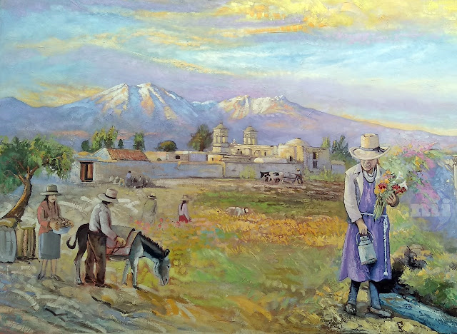 pintura al óleo, campiña de Arequipa con fondo del Pichupichu
