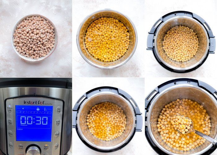 A collage of instant pot chickpeas