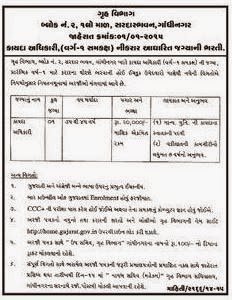 Gujarat Home Department Law Officer Recruitment, 2015