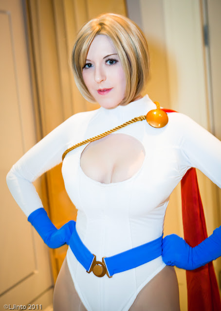 cute power girl cosplayer