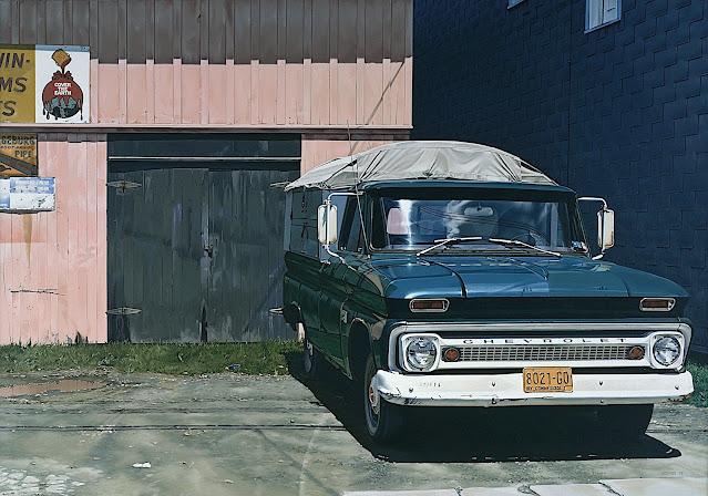 Ralph Goings realism  art, a teal truck parked