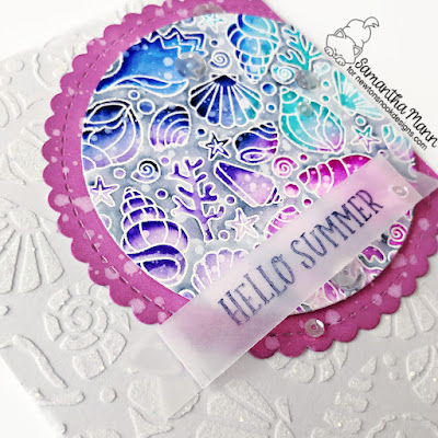 Hello Summer Card by Samantha Mann for Newton's Nook Designs, Seashells, Stencil, Embossing Paste, Handmade Cards, Card Making, die cutting, #newtonsnook #newtonsnookdesigns #distressoxide #sticklesglittergel #stencil