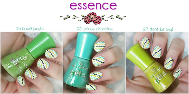 essence 33 wild white ways - essence 25 prince charming - essence 26 brazil jungle - essence 27 don't be shy!