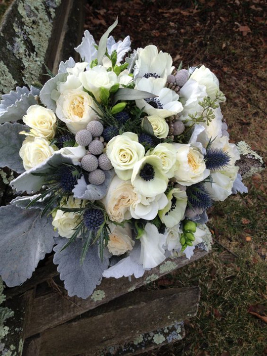 wedding Bouquet of freesias and dusty miller