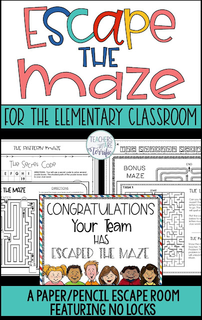 Escape Rooms for elementary students are amazing. This one especially is 'a-MAZE'ing because the topic is mazes. What is different about the paper/pencil escape room is simple! Students complete tasks to earn a method of 'escaping'. The prep for the events with NO LOCKS is minimal- just making copies. No locks or boxes!