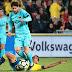 Barcelona empató con Las Palmas, con goles de Messi y Calleri