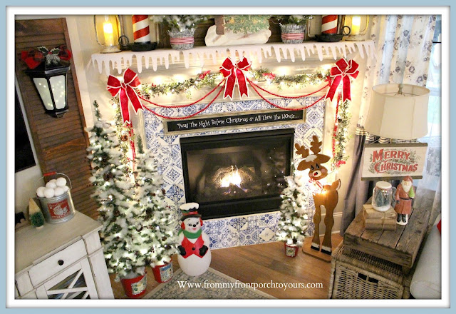 Vintage -Inspired -Cottage- Farmhouse- Christmas -Mantel-Blow-Mold-Santa-Skinny-Tree-Felt-Bows-Peel & Stick Tile--From My Front Porch To Yours