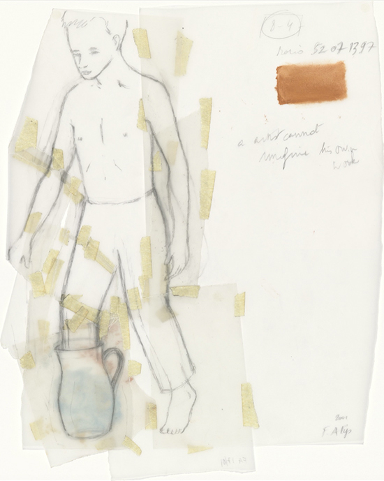 Francis Alÿs Untitled (Boy with Jug), 2000 Oil and pencil on cut-and-taped transparentized paper 30.5 x 20 cm