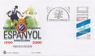 filatelia, sobre, sello, matasellos, centenario, Espanyol, fútbol