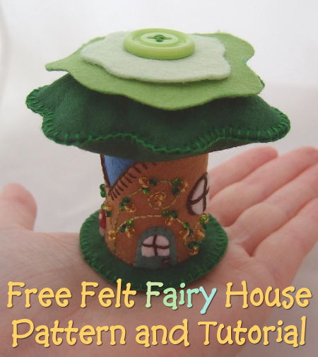 How to make a felt fairy house with complete instructions and free printable template to use