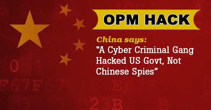 China — OPM Hack was not State-Sponsored; Blames Chinese Criminal Gangs
