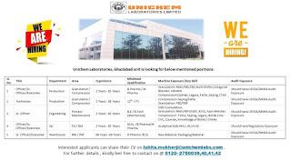 Unichem Laboratories Limited Ghaziabad unit is looking for 12th Pass/ ITI/ B.E/ B.Tech/ B. Pharma/ M. Pharma D. Pharma/ B.Sc/ M.Sc Candidates
