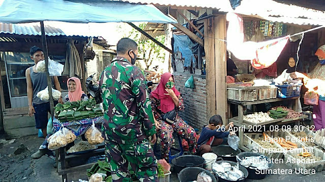 Pantau Harga Sembako, Personel jajaran kodim 0208/Asahan Turun Kewilayah Binaan