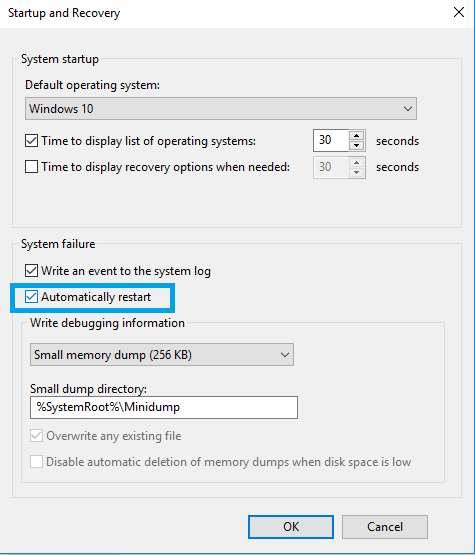 automatic restart Windows